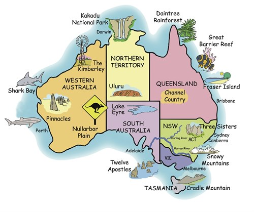 Australia Map Landmarks.About Australia Australian Facts